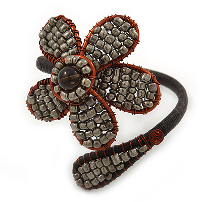 Dark Cappuccino Flower Copper Wire Flex Bracelet - main view