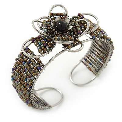 Fancy Glass Peacock Bead Floral Cuff Bracelet In Silver Tone - Adjustable - main view