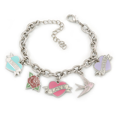 PINK COOKIE IN PURSE Hearts, Rose, Swallow Charm Oval Link Bracelet In Rhodium Plating - 15cm L/ 5cm Ext - main view