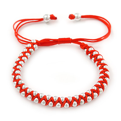 Plaited Bright Red Silk Cord With Silver Tone Bead Friendship Bracelet - Adjustable