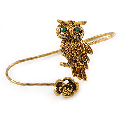 Gold Tone Topaz, Citrine Crystal Owl Palm Bracelet - Up to 19cm L/ Adjustable