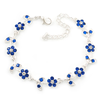 Rhodium Plated Sapphire Blue Crystal Daisy Bracelet - 16cm Length/ 5cm Extension - main view