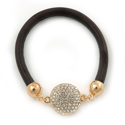 Black Rubber Bracelet With Crystal Button Magnetic Closure In Gold Tone - 17cm L - For small wrist - main view
