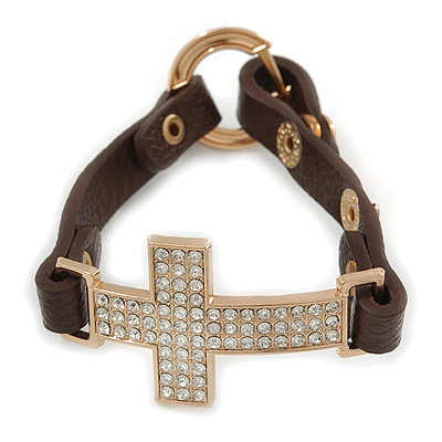 Clear Crystal Cross With Brown Leather Style Bracelet In Gold Tone - 18cm L