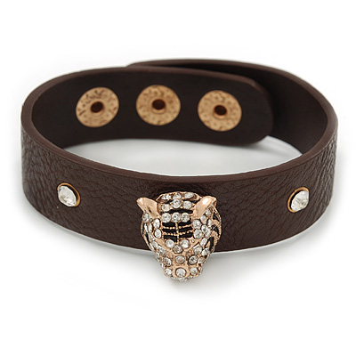 Brown Leather Style Crystal Studded Bracelet With Gold Plated Tiger Head - up to 21cm L