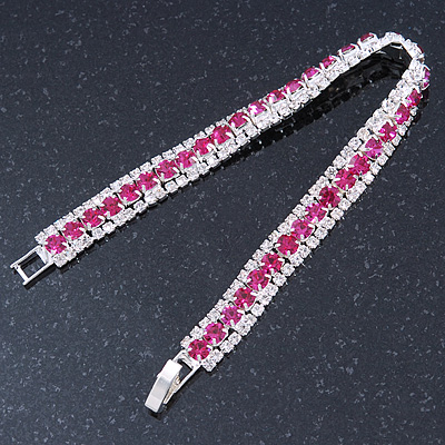 Clear/ Fuchsia Austrian Crystal Bracelet In Rhodium Plated Metal - 17cm Length