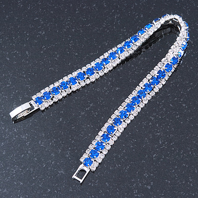 Clear/ Sapphire Blue Austrian Crystal Bracelet In Rhodium Plated Metal - 17cm Length