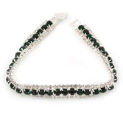 Clear/ Dark Green Austrian Crystal Bracelet In Rhodium Plated Metal - 17cm Length