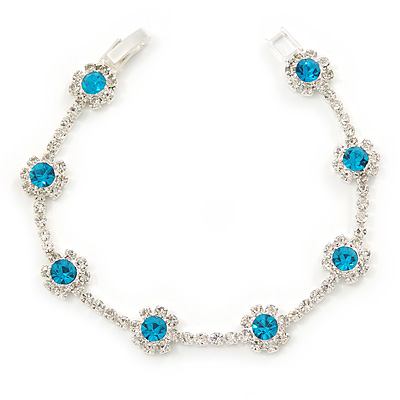 Teal Blue/ Clear Swarovski Crystal Floral Bracelet In Rhodium Plated Metal - 17cm L - main view