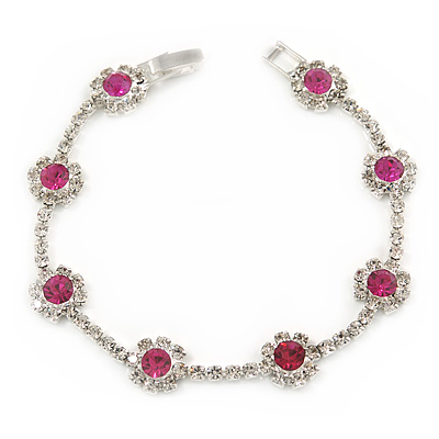 Magenta/ Clear Austrian Crystal Floral Bracelet In Rhodium Plated Metal - 17cm L