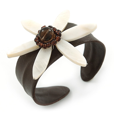 Brown Leather Flex Cuff Bangle With Mother Of Pearl Flower - 19cm L