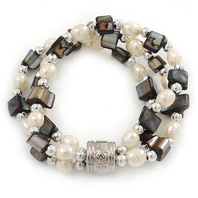 3 Strand Freshwater Pearl, Slate Black Shell Nugget Flex Bracelet - 20cm L - main view