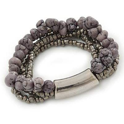 Multistrand Grey Semiprecious Stone, Metallic Silver Glass Bead Flex Bracelet - 19cm L - main view