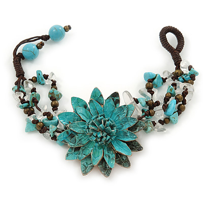 Handmade Teal Leather Flower Turquoise Bead Cotton Cord Bracelet - 14cm L/ 2cm Ext - for smaller wrists