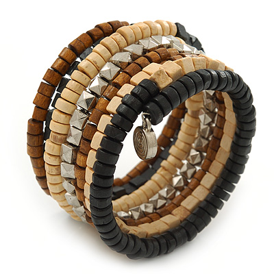 Wide Brown Wooden Bead Coil Flex Bracelet - Adjustable - main view