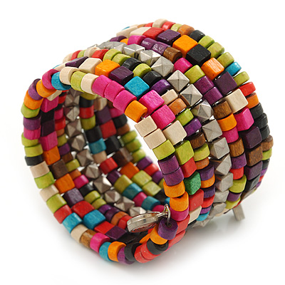 Wide Multicoloured Wooden Bead Coil Flex Bracelet - Adjustable