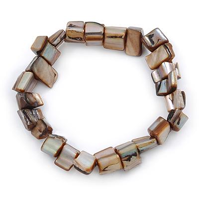 Brown Shell Nugget Stretch Bracelet - 17cm L
