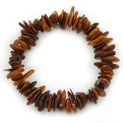 Brown Shell Nugget Stretch Bracelet - up to 19cm - main view