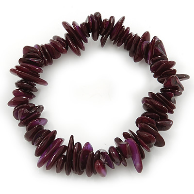 Deep Purple Shell Nugget Stretch Bracelet - up to 19cm