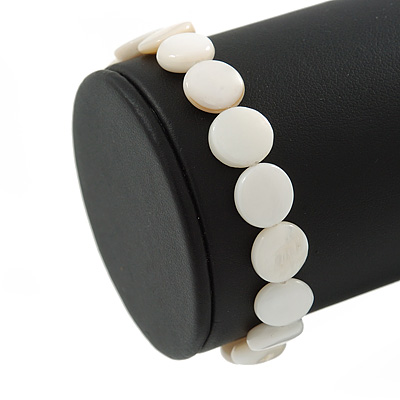 White Sea Shell Flex Bracelet - Adjustable up to 20cm L