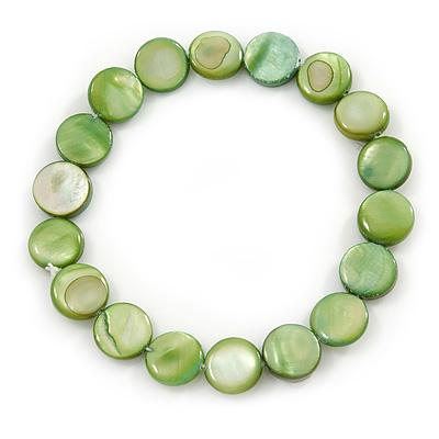 Green Sea Shell Flex Bracelet - Adjustable up to 20cm L