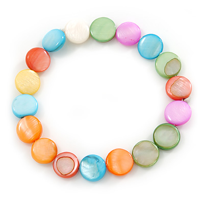 Multicoloured Shell Flex Bracelet - Adjustable up to 20cm L