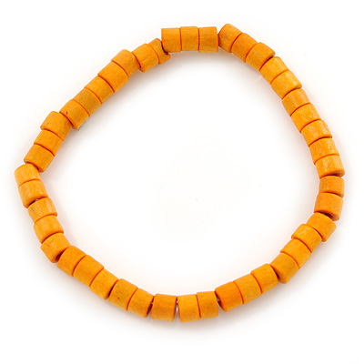 Unisex Orange Wood Bead Flex Bracelet - up to 21cm L