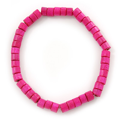 Unisex Fuchsia Wood Bead Flex Bracelet - up to 21cm L