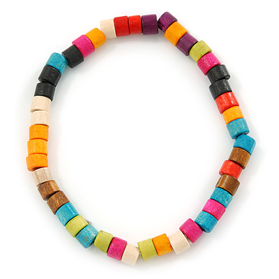 Unisex Multicoloured Wood Bead Flex Bracelet - up to 21cm L - main view