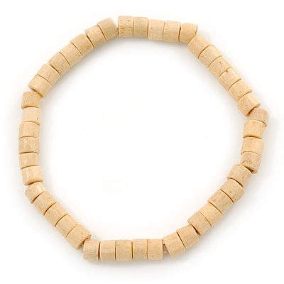 Unisex Natural Wood Bead Flex Bracelet - up to 21cm L - main view