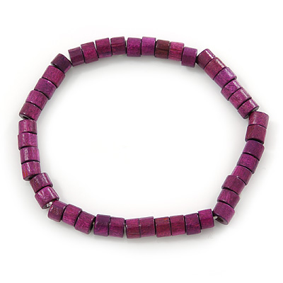 Unisex Purple/ Violet Wood Bead Flex Bracelet - up to 21cm L
