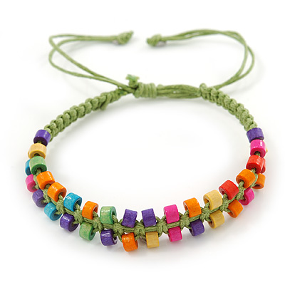 Multicoloured Wood Bead Friendship Bracelet With Light Green Cord - Adjustable - main view