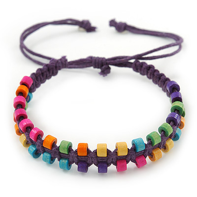 Multicoloured Wood Bead Friendship Bracelet With Purple Cord - Adjustable - main view