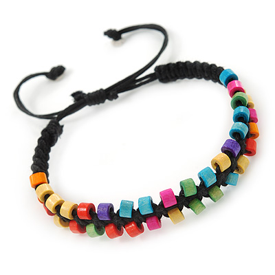 Multicoloured Wood Bead Friendship Bracelet With Black Cord - Adjustable - main view