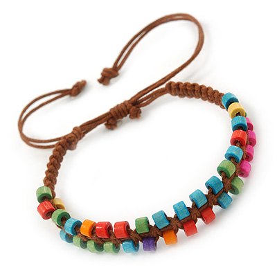 Multicoloured Wood Bead Friendship Bracelet With Brown Cord - Adjustable - main view