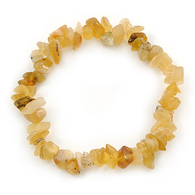 Dusty Yellow Semiprecious Nugget Stone Beads Flex Bracelet - 18cm L