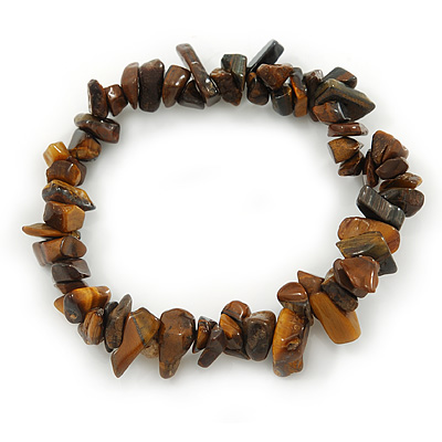 Tiger Eye Semi-Precious Nugget Stone Flex Bracelet - 18cm L - main view