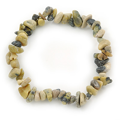 Grey/ Light Olive Semiprecious Nugget Stone Beads Flex Bracelet - 18cm L