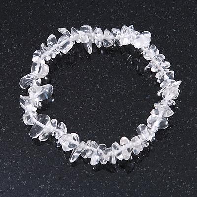 Transparent Glass Nugget Beads Flex Bracelet - 18cm L - main view