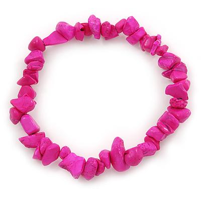 Deep Pink Semiprecious Nugget Stone Beads Flex Bracelet - 18cm L - main view