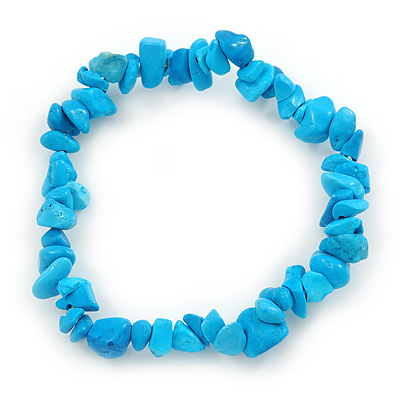 Light Blue Semiprecious Nugget Stone Beads Flex Bracelet - 18cm L - main view