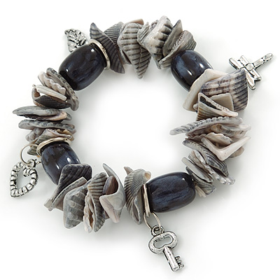 Black/ Grey Shell Nugget, Ceramic Bead, Burnt Silver Metal Charm Flex Bracelet - 18cm L
