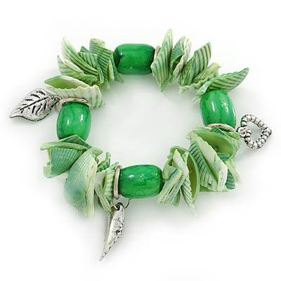 Spring Green Shell Nugget, Ceramic Bead, Burnt Silver Metal Charm Flex Bracelet - 18cm L