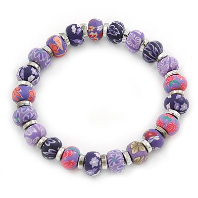 Purple Fimo Bead With Silver Tone Flex Bracelet - 18cm Length