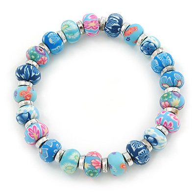 Blue Fimo Bead With Silver Tone Flex Bracelet - 18cm Length