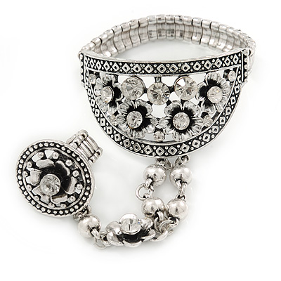Vintage Inspired Clear Crystal Floral Flex Bracelet With Matching Ring Attached - 19cm L, Ring Size 7/8