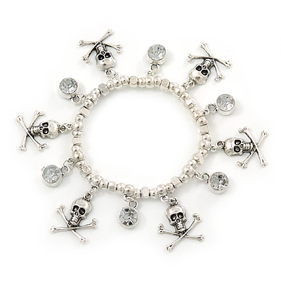 Silver Tone Crystal Dangle & Skull & Crossbones Charm Flex Bracelet - up to 20cm Ls