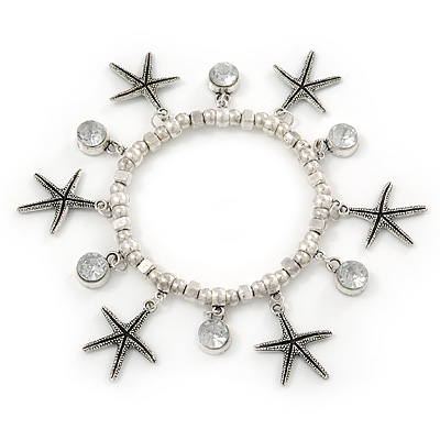 Silver Tone Crystal & Starfish Charm Flex Bracelet - up to 20cm L
