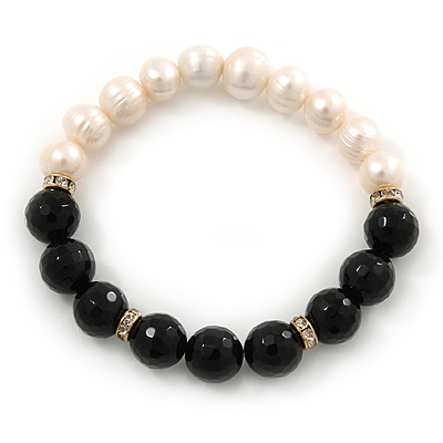 10mm Light Cream Freshwater Pearl with Black Faceted Onyx Stone Stretch Bracelet - 18cm L - main view
