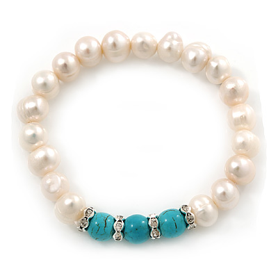 9mm Freshwater Pearl With Semi-Precious Turquoise Stone Stretch Bracelet - 18cm L - main view